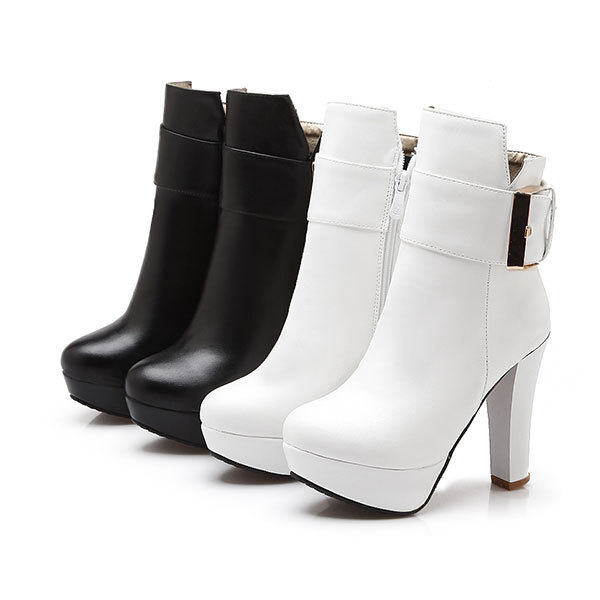 New 2015 Spring/Autumn casual round toe ankle boots fashion and comfortable zipper boots solid colors high heel boots D3318<br><br>Aliexpress