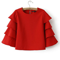 Korean Style 2016 Spring Red Crop Top Blouse O Neck Petal Ruffles 3 4 Sleeved Short