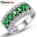 Fashion Rings for Women Anel Com Pedra Grande Casamento Silver Ring with Artificial Stones Crystal Sapphire