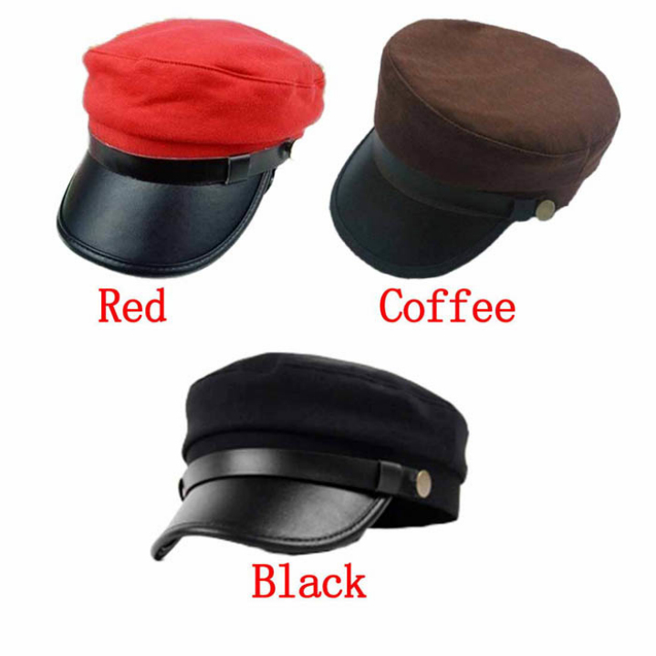 Best seller Fashion Leather Buckle Army Military Cap Flat -Top Hat Student Hat Vintage Navy hot selling Oct18 wholesale
