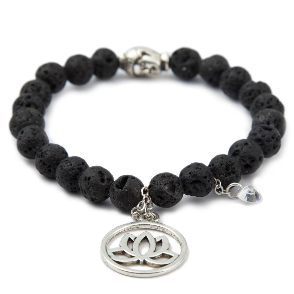 Buddha Bracelet Men Women Lava Stone Wristband Bead Head Bangles Silvery Zircon Lotus Jewelry 0.8 CM Meditation Pendant Bijoux(China (Mainland))