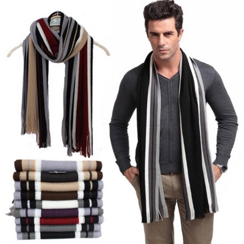 Winter designer scarf men striped cotton scarf female & male brand shawl wrap knit cashmere bufandas Striped scarf with tassels(China (Mainland))