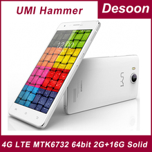 "In stock Original UMI Hammer 5.0"" 1280*720 4G LTE MTK6732 64bit Cell Phone Quad Core 1.5GHz 2G RAM 16G ROM 13MP Android 4.4/MARY(China (Mainland))"