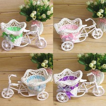 2016 Hot Sale Tricycle Bike Pentagram Basket Container Flowers Vases Plant Home Weddding Decoration(China (Mainland))