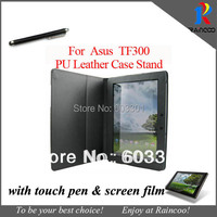 For Asus Transformer Pad TF300 leather case + clear screen protector + stylus touch pen, TF300T cover protector