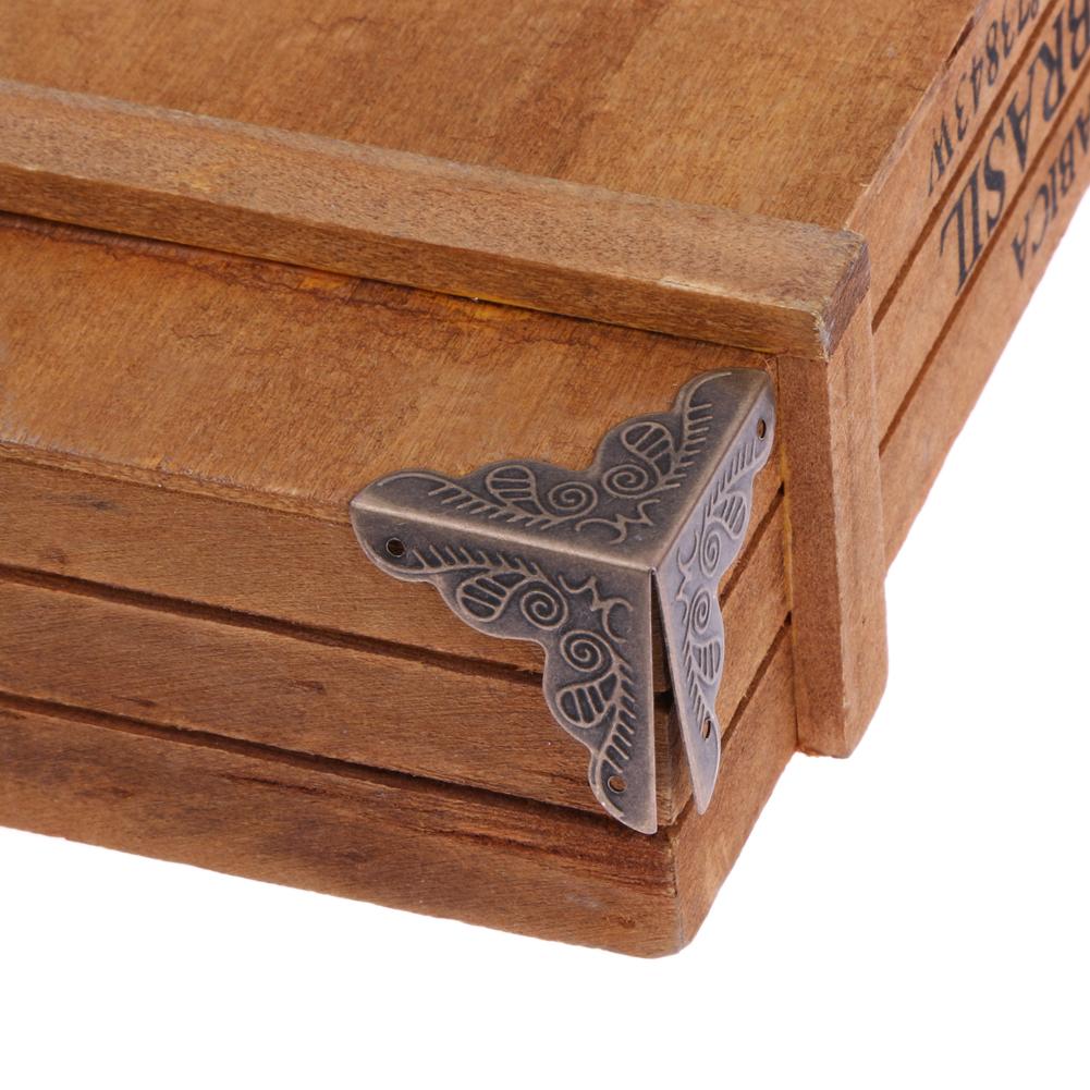 10pcs Set Jewelry Gift Box Wooden Case Trunk Furniture Hardware Desk Cabinet Corner Decor Protector