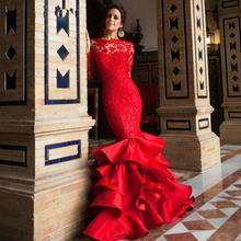 Red Evening Dresses Mermaid Backless Long Sleeve Ruffles Court Train robes de soiree 2016 longue vestidos de festa(China (Mainland))