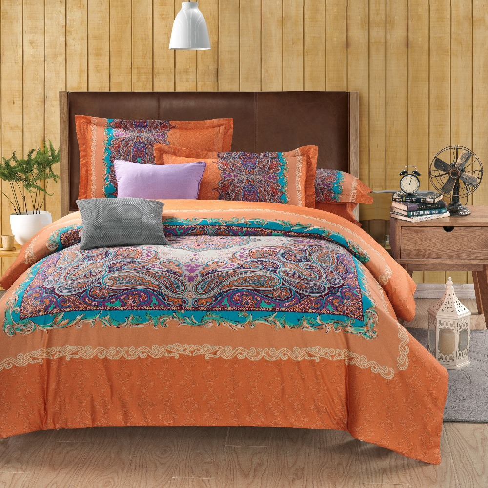 Wholesale Classic Paisley Orange Queen King Size Bed Lines