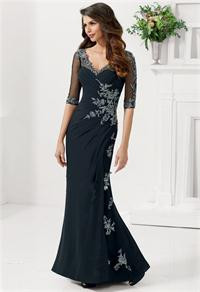 2015-New-Chiffon-Appliques-Natural-Vestido-Hot-Sales-V-neck-Half-Sleeves-Mermaid-Evening-Dresses-With