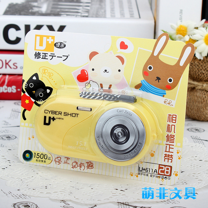 Cute Camera Pencil and Pen Writing Corrective Tape and Tools Best Gift for Students and Children 1pcs Free Shipping(China (Mainland))