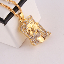 18K Gold Plated JESUS Christ Piece Head Face Hip Hop Pendant Necklace Charm Chain For Men and Women Trendy Holiday Accessories