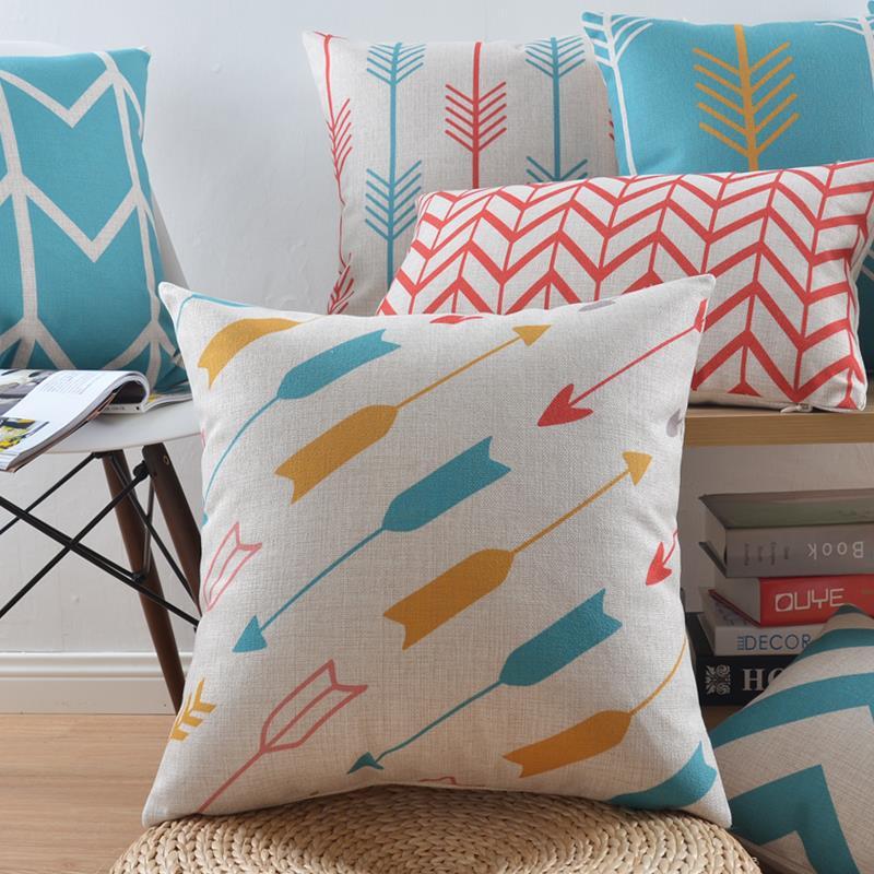 """18 """" capa de almofada de linho de algodão geométrica nórdico Ikea sofá cadeira carro casa decorativo jogar travesseiro fronha almofadas"""