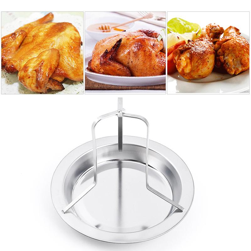 Stainless Steel Chicken Holder Pan Upright Beer Roaster Rack Silver Baking Pan Grilled Roast Rack BBQ Pan Out Door Baking Pan(China (Mainland))