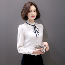 Buy New Blusas Ladies OL Elegant Women Summer Ruffles Tops 2017 Stand Collar Solid Color white Chiffon Shirt Blouse Blusas Bluse for $16.11 in AliExpress store