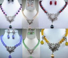 DYY Jewelry 00850 fine green/purple/yellow/red jade pink/black pearl necklace pendant can choose (A0516)(China (Mainland))