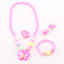 2016 New Trendy Fashion Children Pretty Butterfly Jewelry Set Necklace Bracelet Ring Earrings Baby Kids Girls jewelry set T4(China (Mainland))