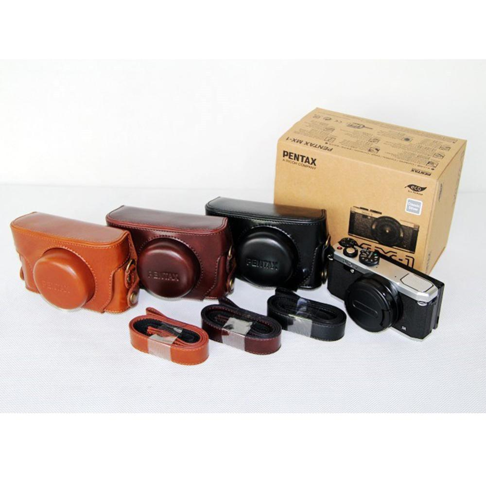 Black/Coffee/Brown Camera Bags Case For Pentax MX-1 PU Leather Cover Photography Package+Strap
