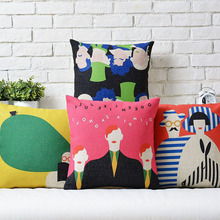 Colored Abstract Art cotton Linen pillow cushion