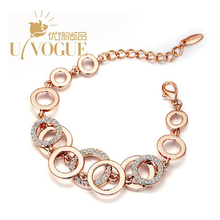 New UVOGUE Brand Jewelry Fashion 18k Rose Gold/Platinum Plated Silver Rhinestone Vintage Hollow Circle Fashion Women Bracelets(China (Mainland))