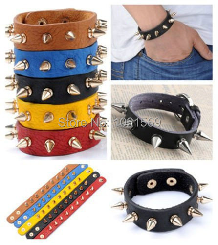 Fashion Punk Rock Mens Womens Rivet Stud Spike Leather Bangle Bracelet Wristband(China (Mainland))