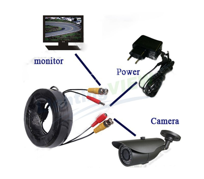 40m CCTV Camera Cable & 40 meters 133ft BNC Video Cable for Surveillance Cameras and DVRs with BNC connector SK-235