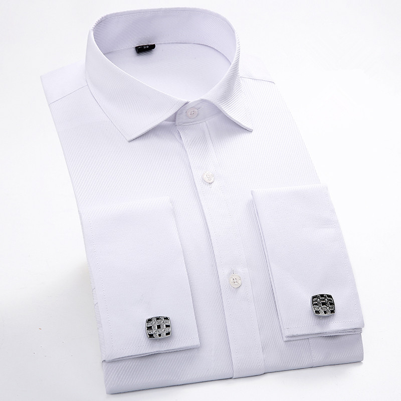French cuff dress shirt long sleeve clothes casual men for Mens dress shirts french cuffs