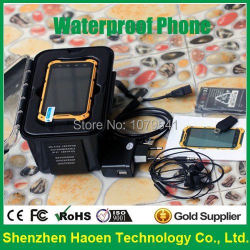 Waterproof Mobile Phone with IP68 Waterproof Rugged phone 3g WCDMA Quad Core GPS 2G Ram+16G Rom Android Rugged Smartphone(China (Mainland))