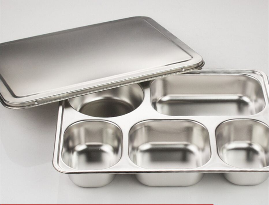Deepen thick 304 stainless steel sub-grid five extra dribbling lunch plates with cover(China (Mainland))