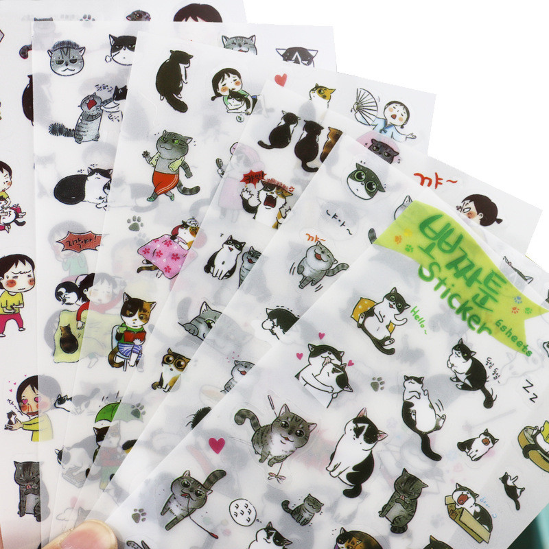 Creative transparent PVC stickers cute black and white cat photo album decorative stickers child DIY toy 6sheets/set(China (Mainland))
