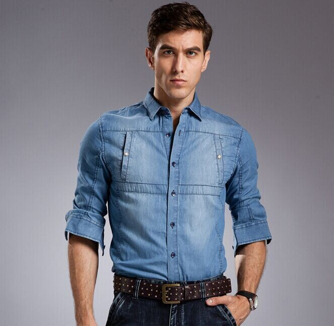 Buy 2014 autumn wear men jeans shirt for Dress shirts that go with jeans