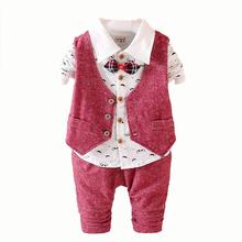 2016 New Spring 3PCS Kids Clothes Boys Baby Clothing Sets Vest Shirt Pants Toddler Boys Clothes Set Wedding Birthday Wear(China (Mainland))
