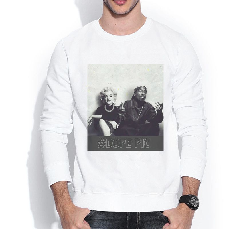 Fashion Plus American Size TUPAC & MARILYN MONROE #DOPE PIC 160997S Vintage Men's Casual Crew Neck Sweatshirt(China (Mainland))