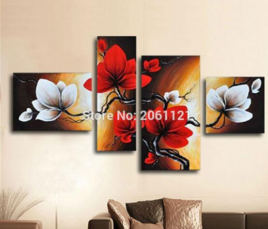 Hand painted blooming Flower painting red brown Abstract modular picture home Decor Oil Painting on canvas 4 panels wall art(China (Mainland))