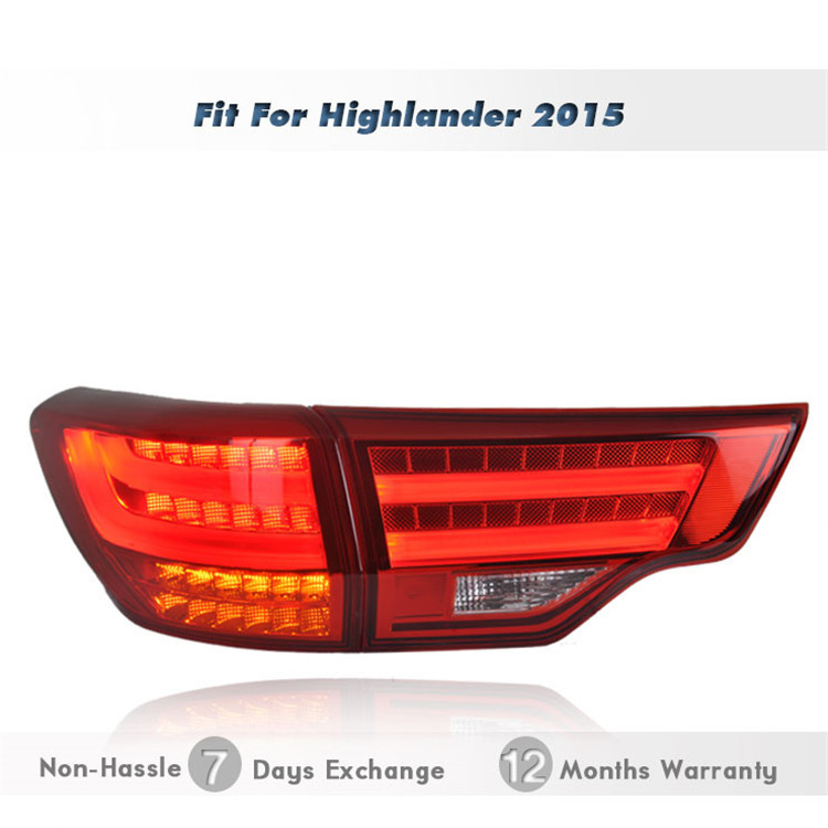 Replacement LED Tail Light Tailight Rear Lamp Brake Turn Reverse facelift Parts modification Fit 2015toyota highlander - wilconnauto store