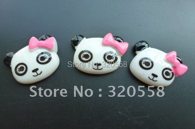 Baby girl panda pink bow DIY resin Scrapbooking Embellishment 50pcs