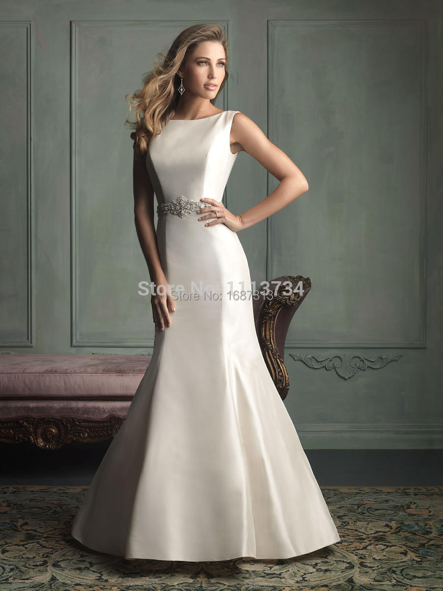 2015 sheer scoop glamorous ivory white floor length satin