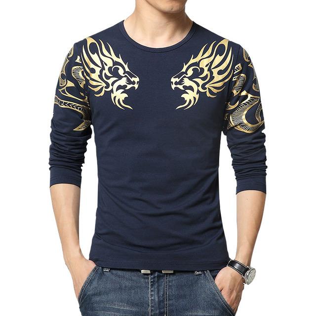 2016 Осенью новый высокого класса мужской бренд футболка мода Тонкий печати Дракон атмосфера майка Плюс размер длинные рукавами футболки мужчин