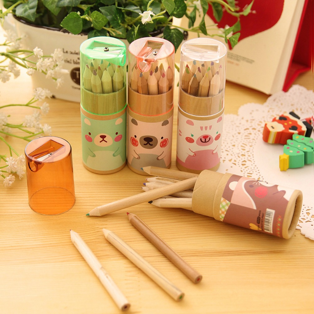 Гаджет  12 Pcs / Pack ,Creative Trend Cute Mini Bear 12 Colors Small Pencil Pen Drawing Painted Pens Colored Pencils Child Students Draw None Офисные и Школьные принадлежности