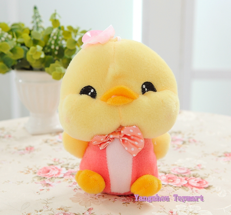 pink and blue 20cm smiling stuffed ducks toys cute kids gifts plush duck couple with bowknot and hats soft toys duck(China (Mainland))