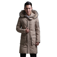 2015 New Thick X Long parka men parkas pluma hombre invierno ,mens winter parka with fur hood duck down 90% padded jacket,JA508