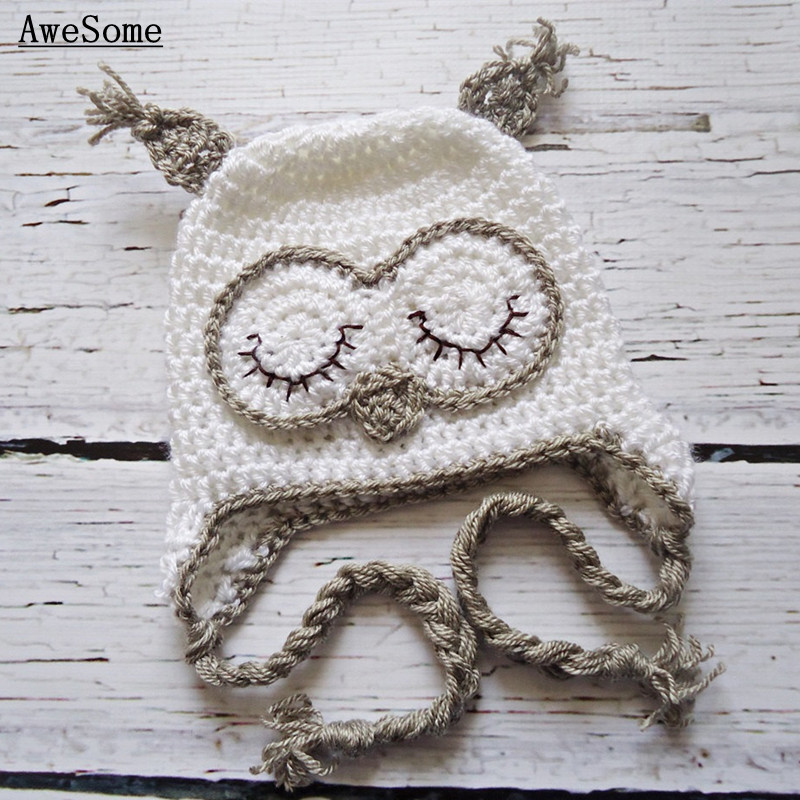 Free Post Handmade Crochet White Owl Hat with Earflap and Braids,Baby Boy Girl Animal cap Infant Toddler Halloween Costume(China (Mainland))