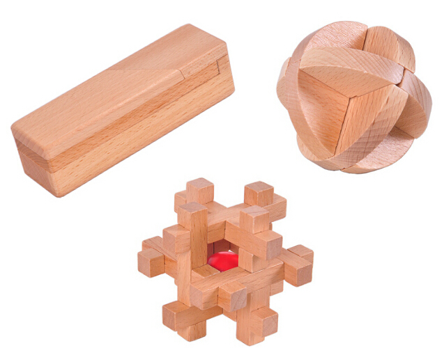 3PCS/Set Beech Wood Burr Puzzles IQ Mind Brain Teaser Wooden Puzzles for Adults Kids(China (Mainland))