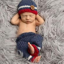 Newborn Photography Props Handmade Knitting Baby Cap Beanie Pants Accessories For 0 to 3 Months(China (Mainland))