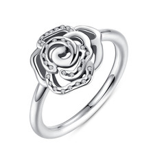 Original 925 Sterling Silver Dazzling Daisy Flower Ring Clear CZ Compatible with Pan Jewelry A7123(China (Mainland))
