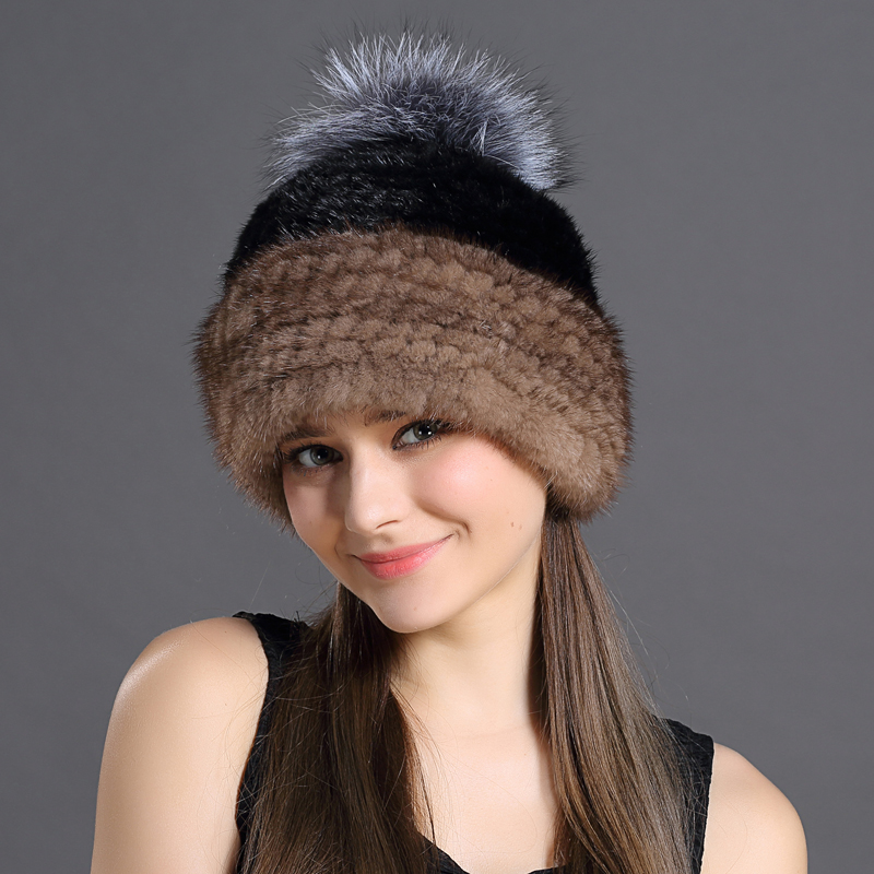 Mink Fur Cap Women Winter Real Natural Fur Patchwork Color Skin-Friendly Fashion Hats With Pompon Sweet Girls Warming Caps(China (Mainland))