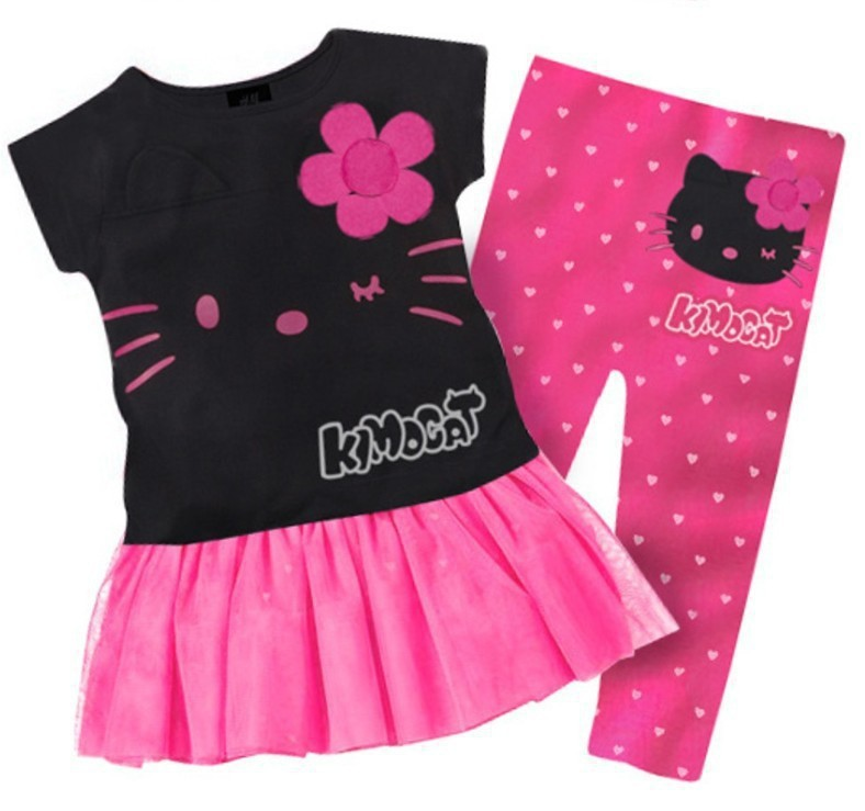 1 Set Retail 2015 New 100% cotton kids clothing set, T-shirt+pant, hello kitty children set, 2 colors available(China (Mainland))