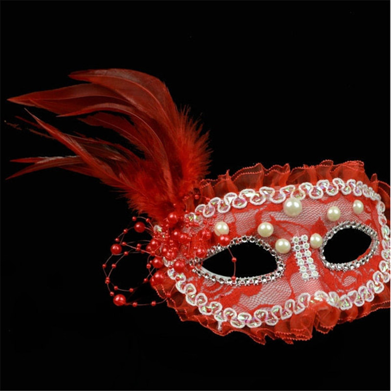 Halloween Ball Masquerade Performance Princess Lace Pearl Feather Half Face Mask Female Models Party Masks VDY43 P15 0.5(China (Mainland))