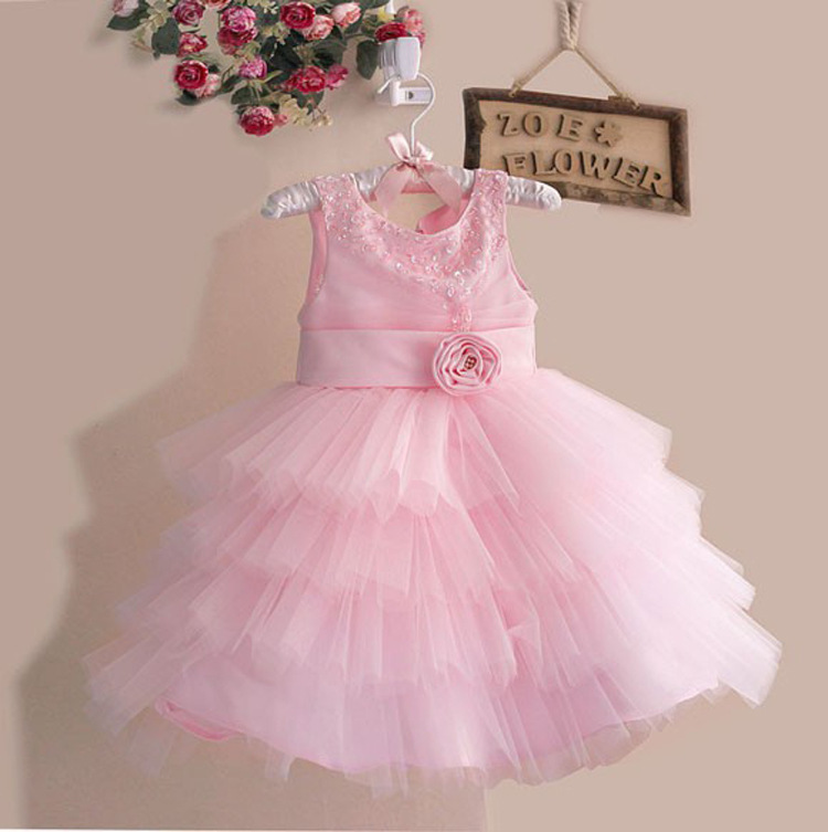 Toddler girls pink summer princess party dress, with tulle, flower, bow band, Kids clothes hot sale, children clothing(China (Mainland))