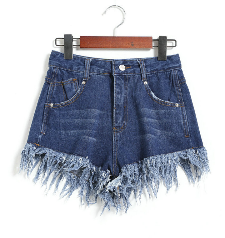 2016 high waist denim fringed shorts for women short feminino women's short jeans 3 colors S M L XL(China (Mainland))
