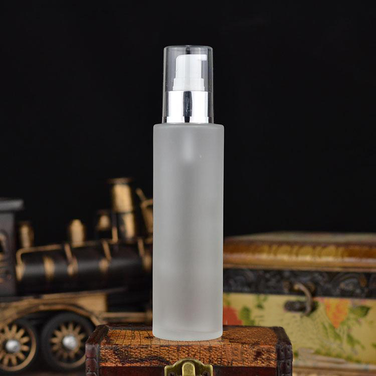 120ML frosted glass bottle with shiny silver press pump for serum/lotion/emulsion/ foundation/gel/essence packing glass bottle(China (Mainland))